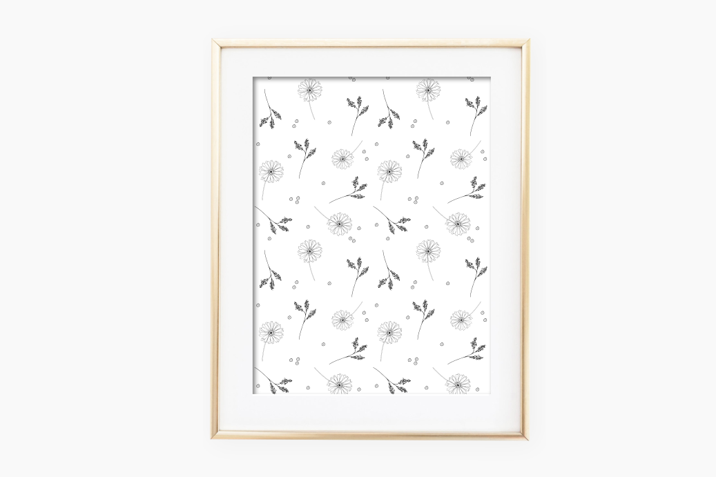 Doodle Floral Pattern, A1, SVG example image 2