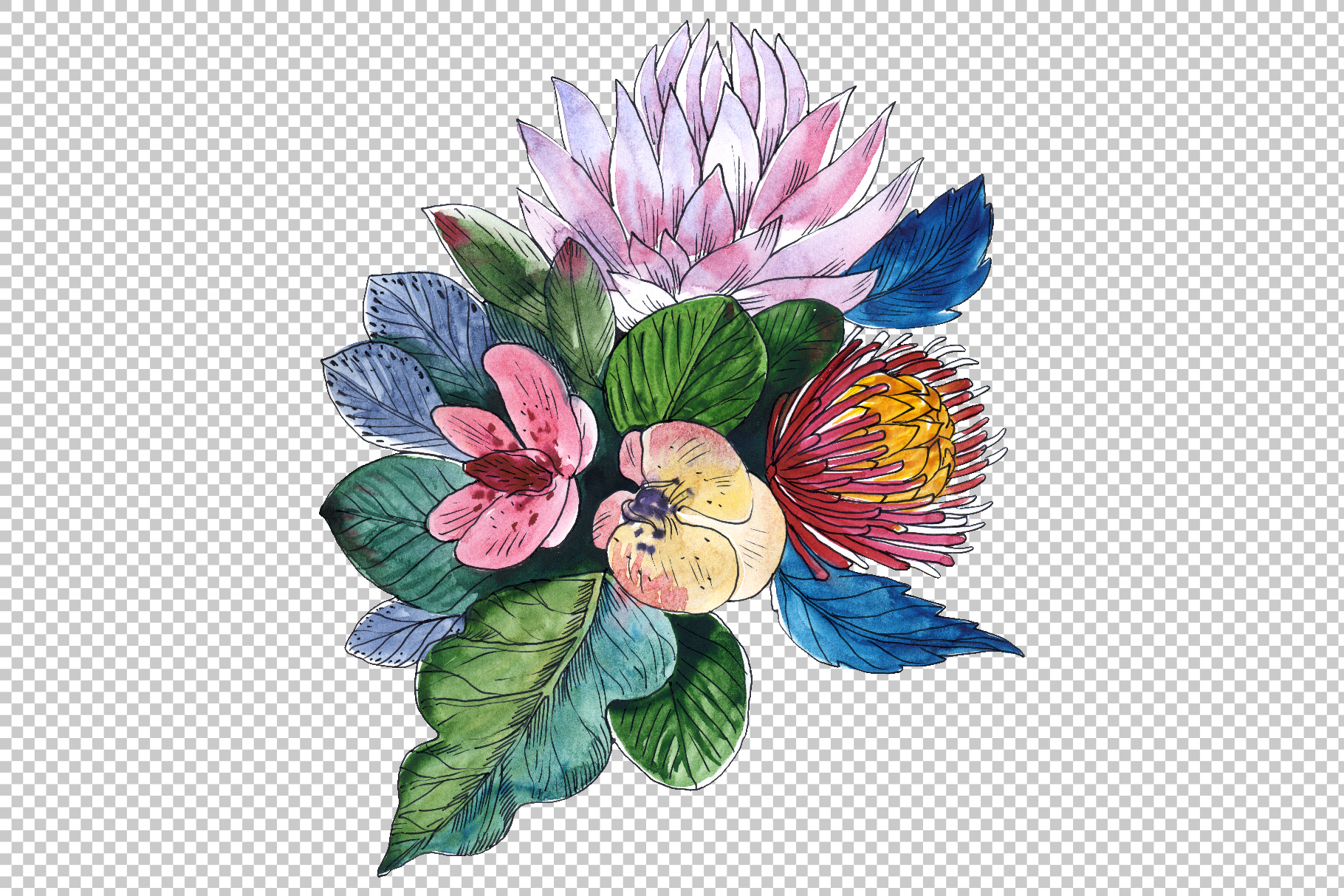Bouquets with wildflowers, Roses, leaves Watercolor png example image 3
