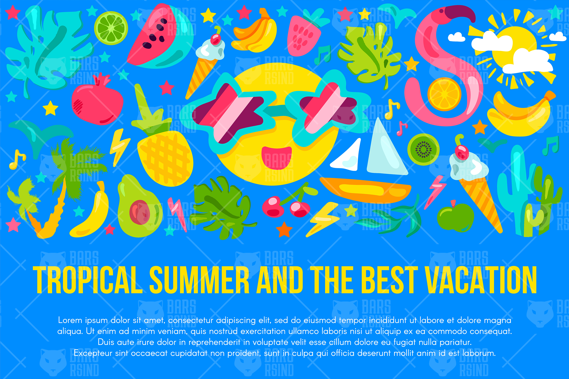 Tropical Summer Vacation Banner example image 1