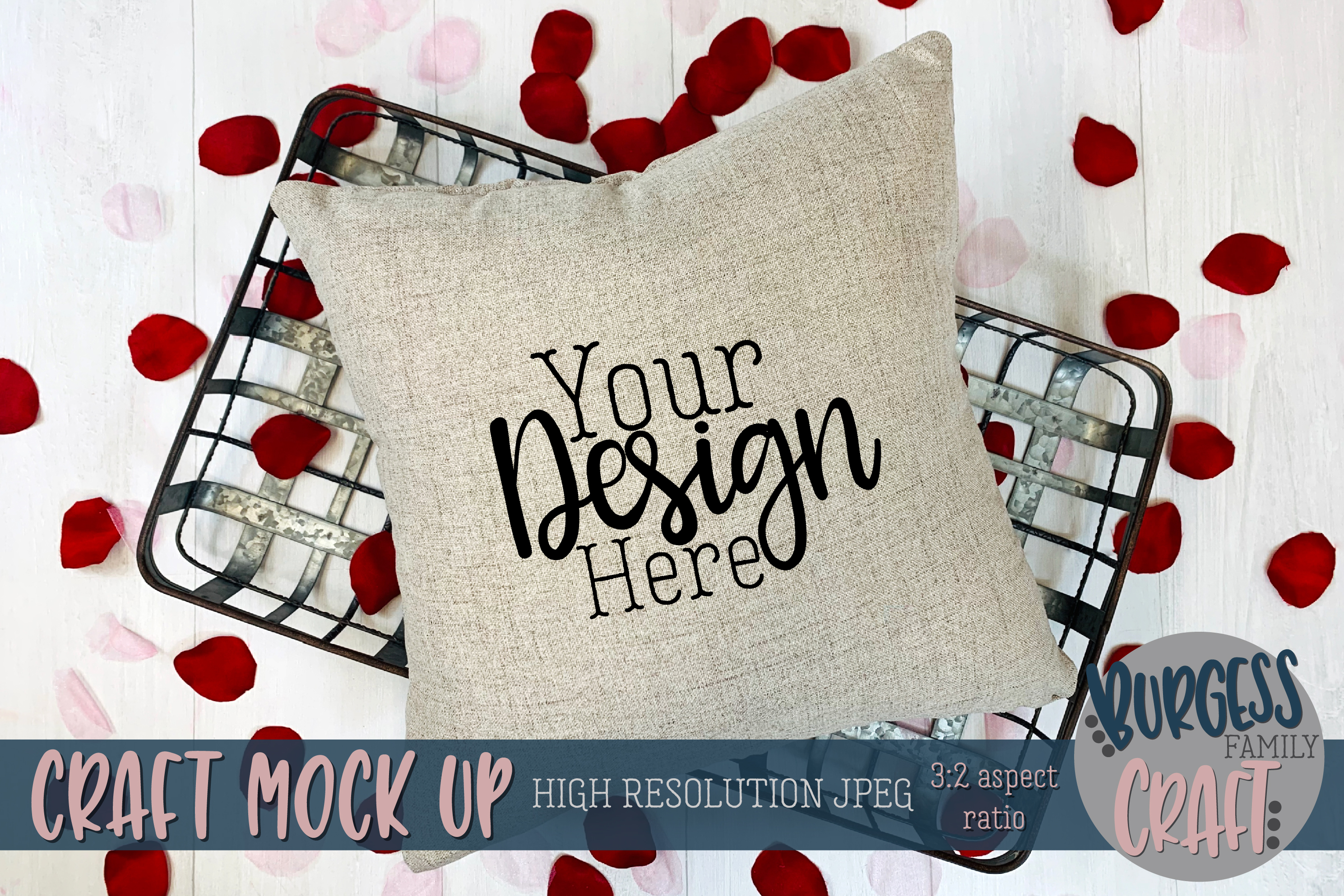 Valentine square pillow with rose petals Craft mock up example image 1