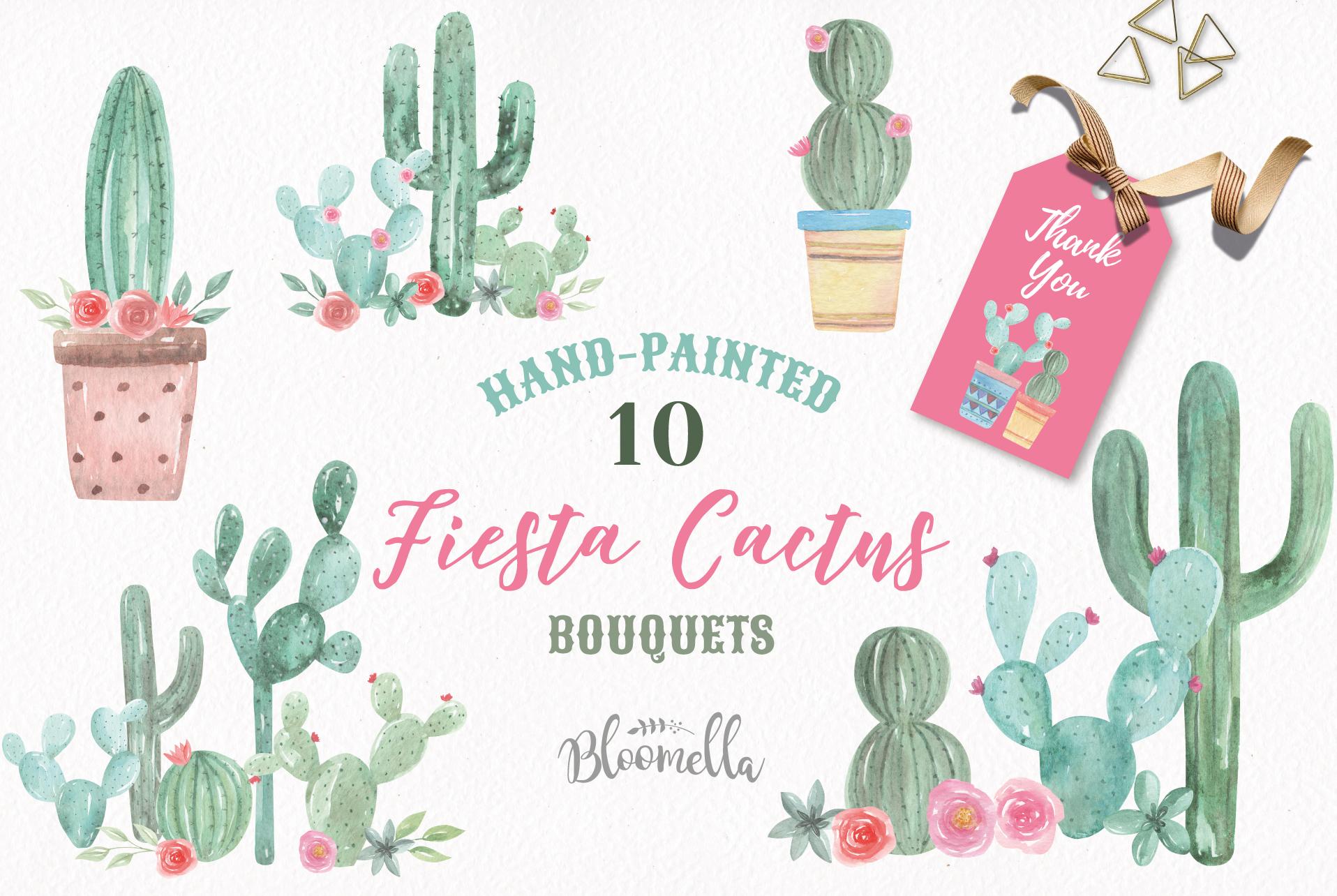Watercolor Cactus Clipart Bouquets Arrangements Flowers Pink example image 1