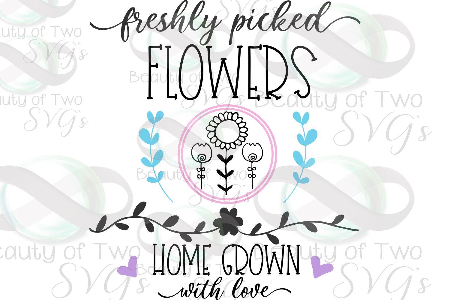 Spring Freshly picked flowers svg & png, Spring flowers svg example image 2