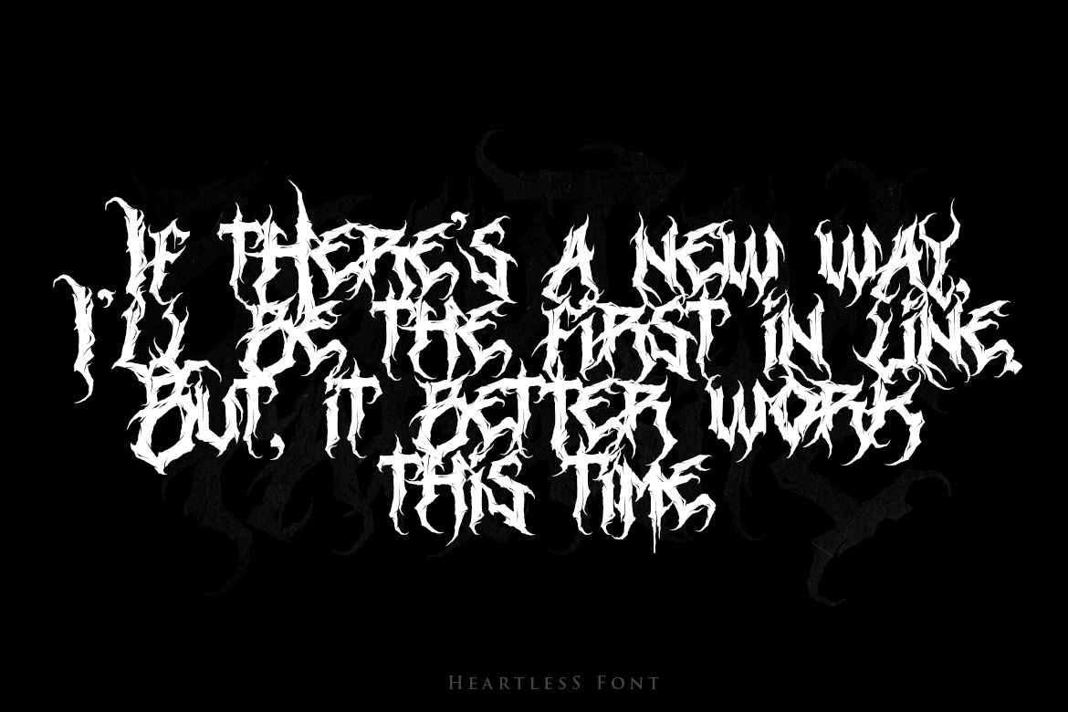 Heartless - Most Wanted Deathmetal Font example image 4