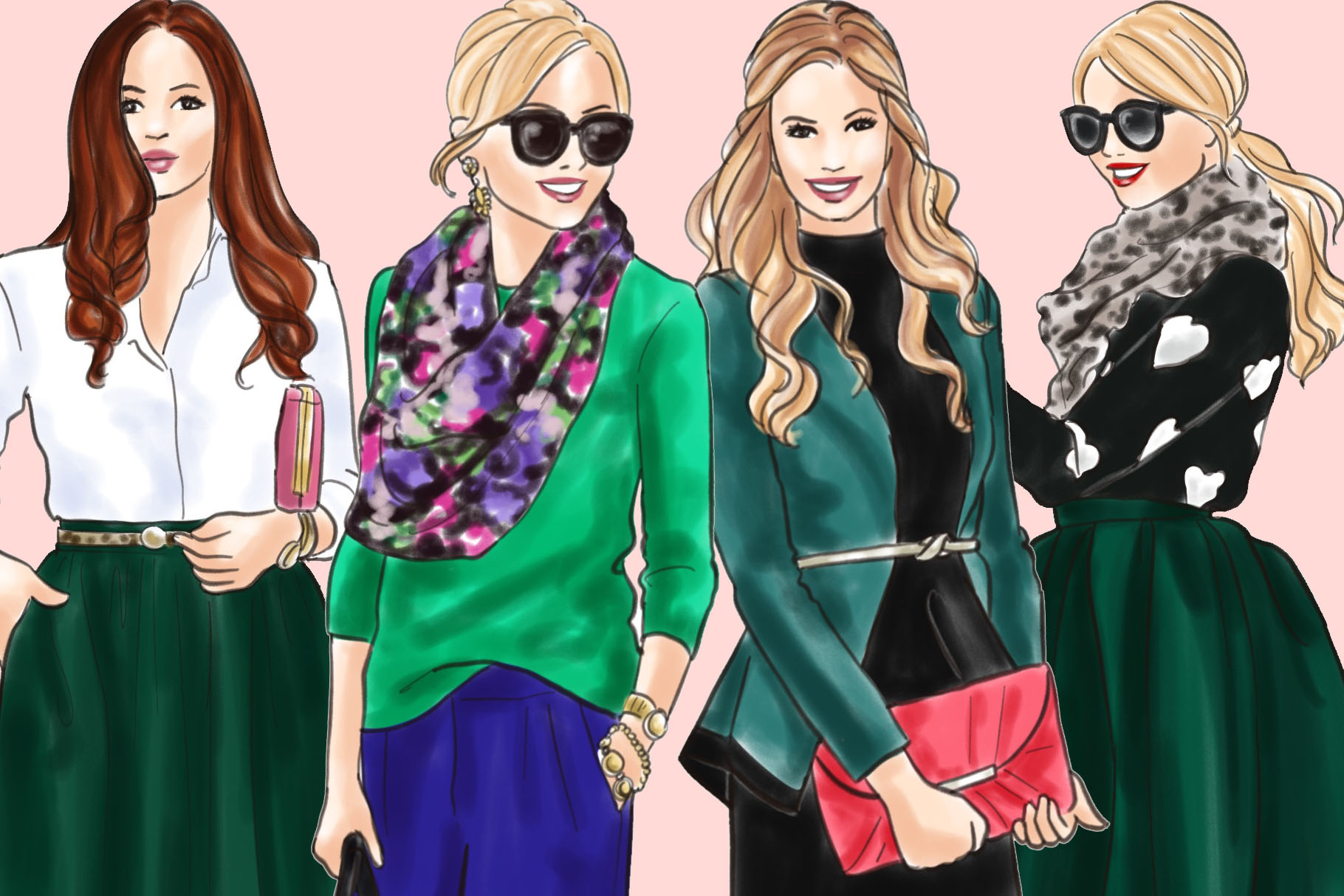 Fashion illustration clipart - Girls in Green 2 - Light Skin example image 3