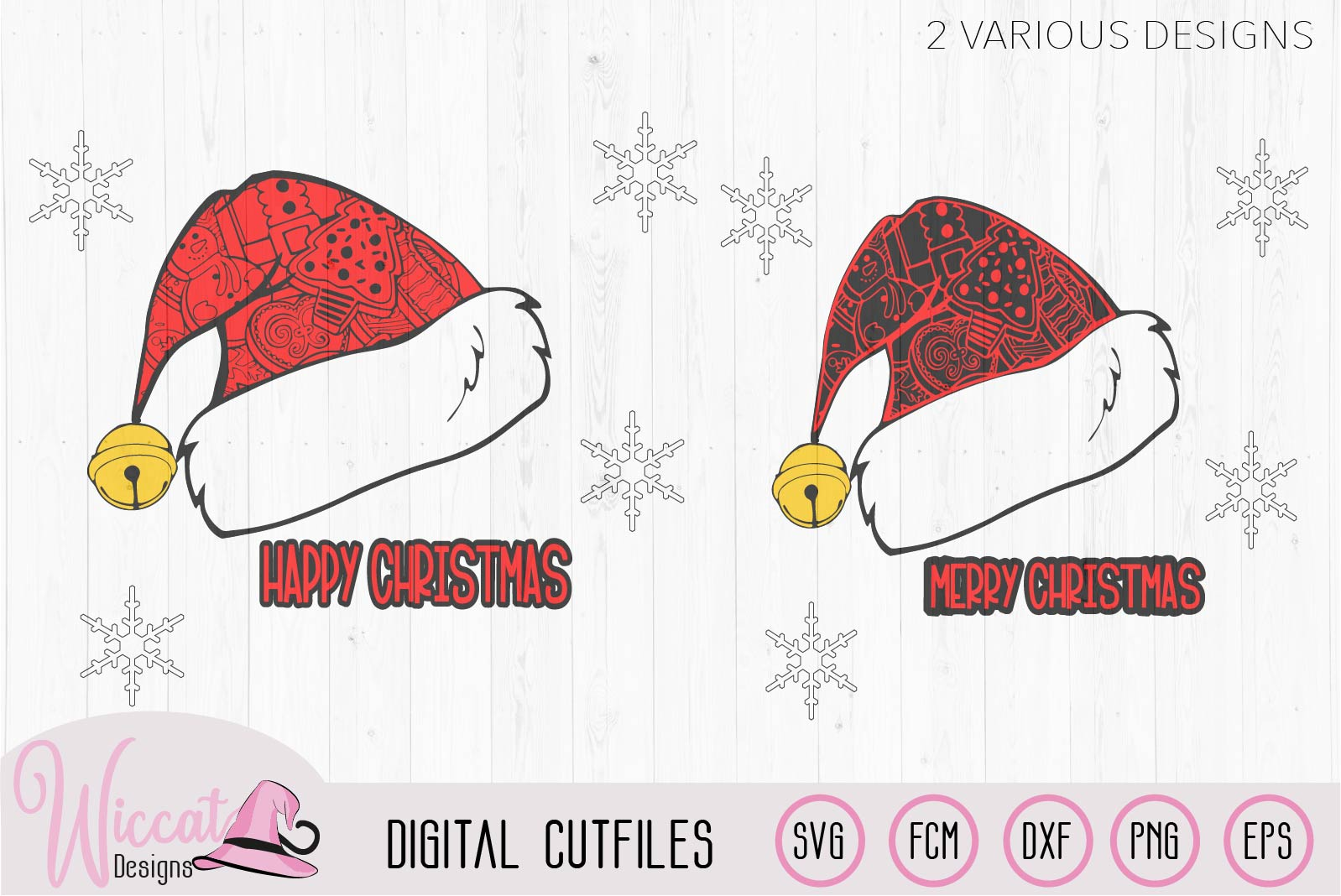 Doodle Christmas hat svg, Happy and Merry Christmas example image 2