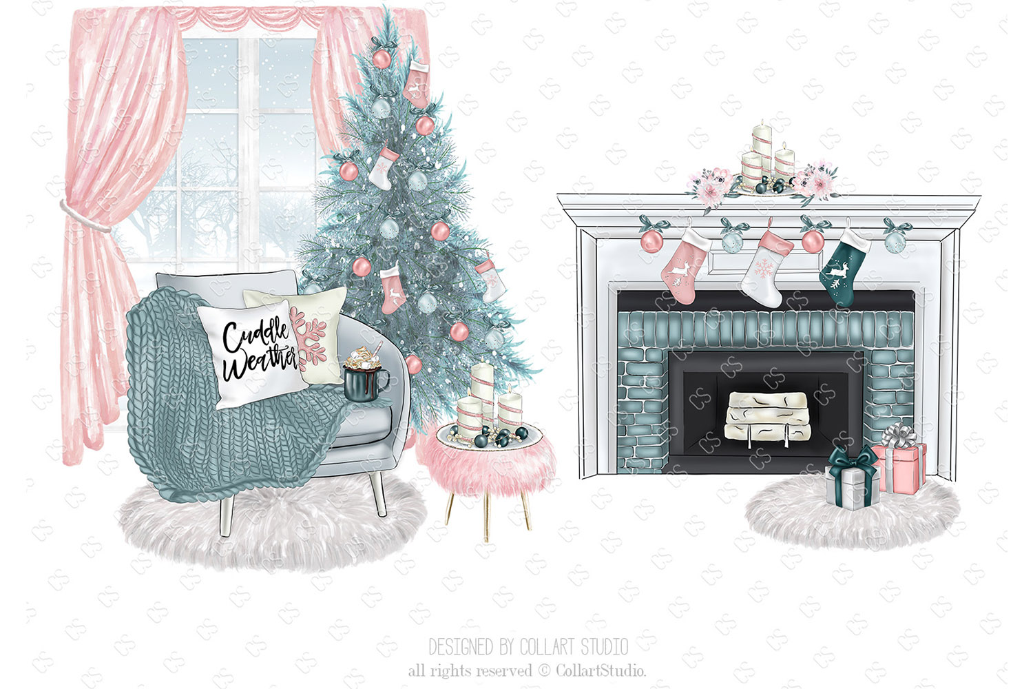 Christmas home decoration clipart, Fashion Christmas Planner example image 4