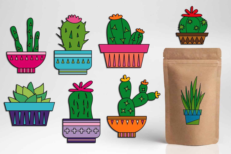 Succulent cactus clip art illustrations bundle example image 2