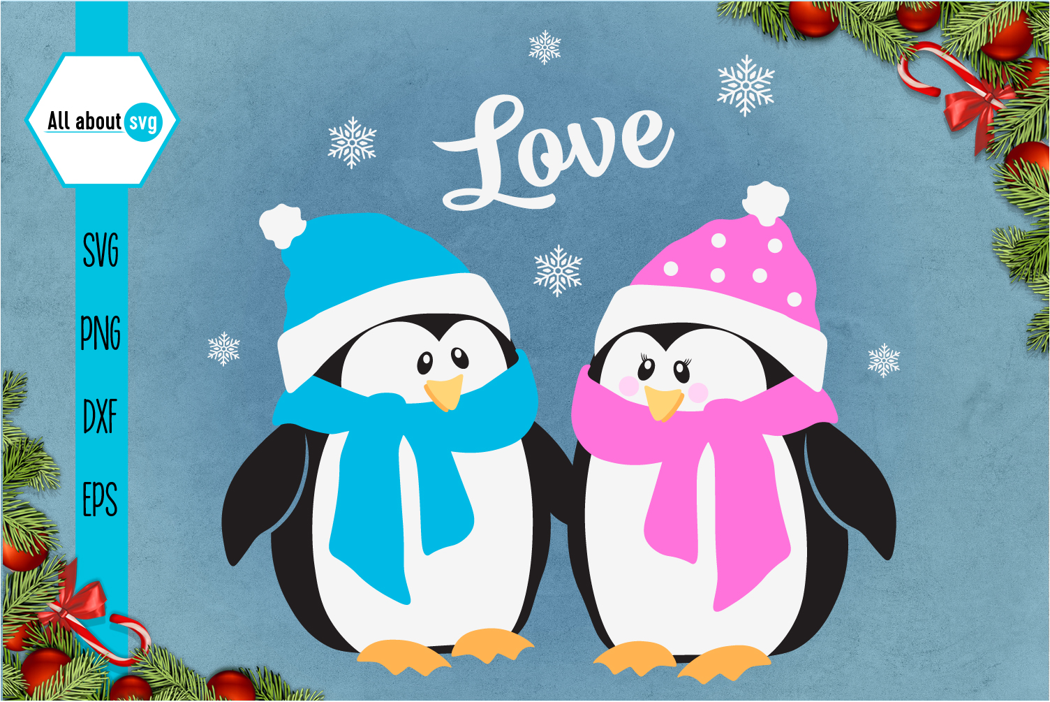 Penguins Love Svg example image 1