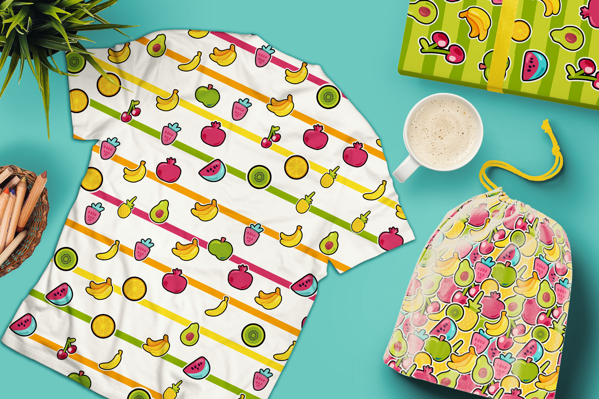 Happy Fruits Seamless Patterns example image 2