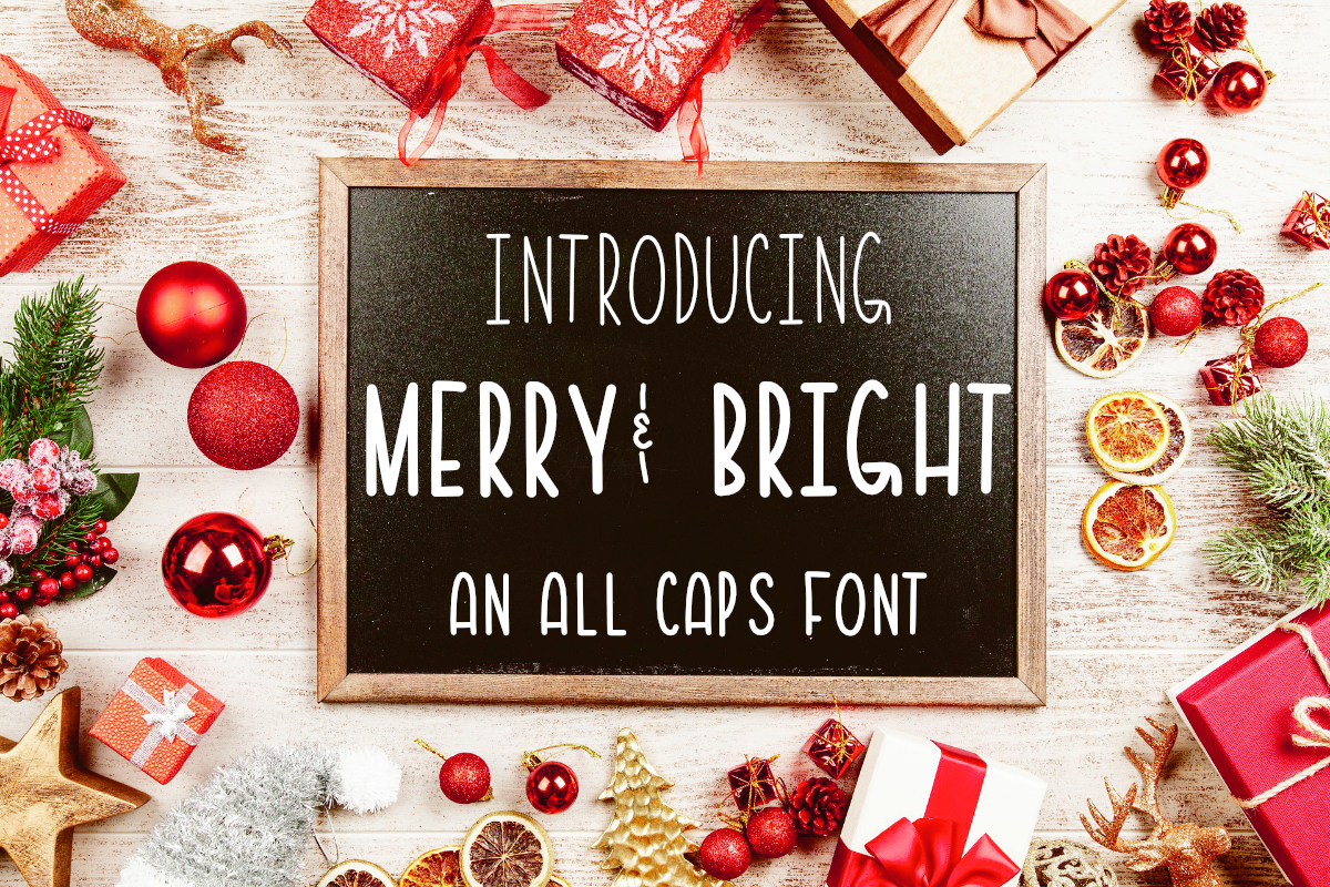 Merry & Bright All Caps Font example image 1