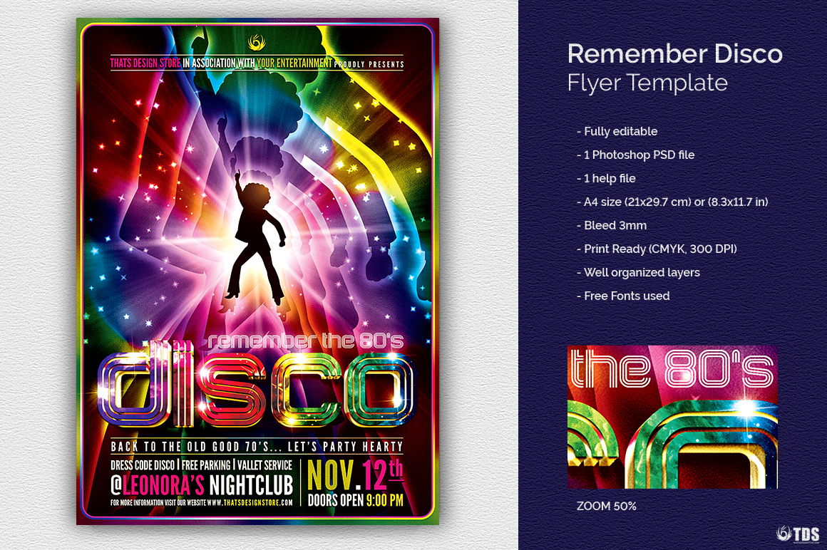 remember disco flyer template