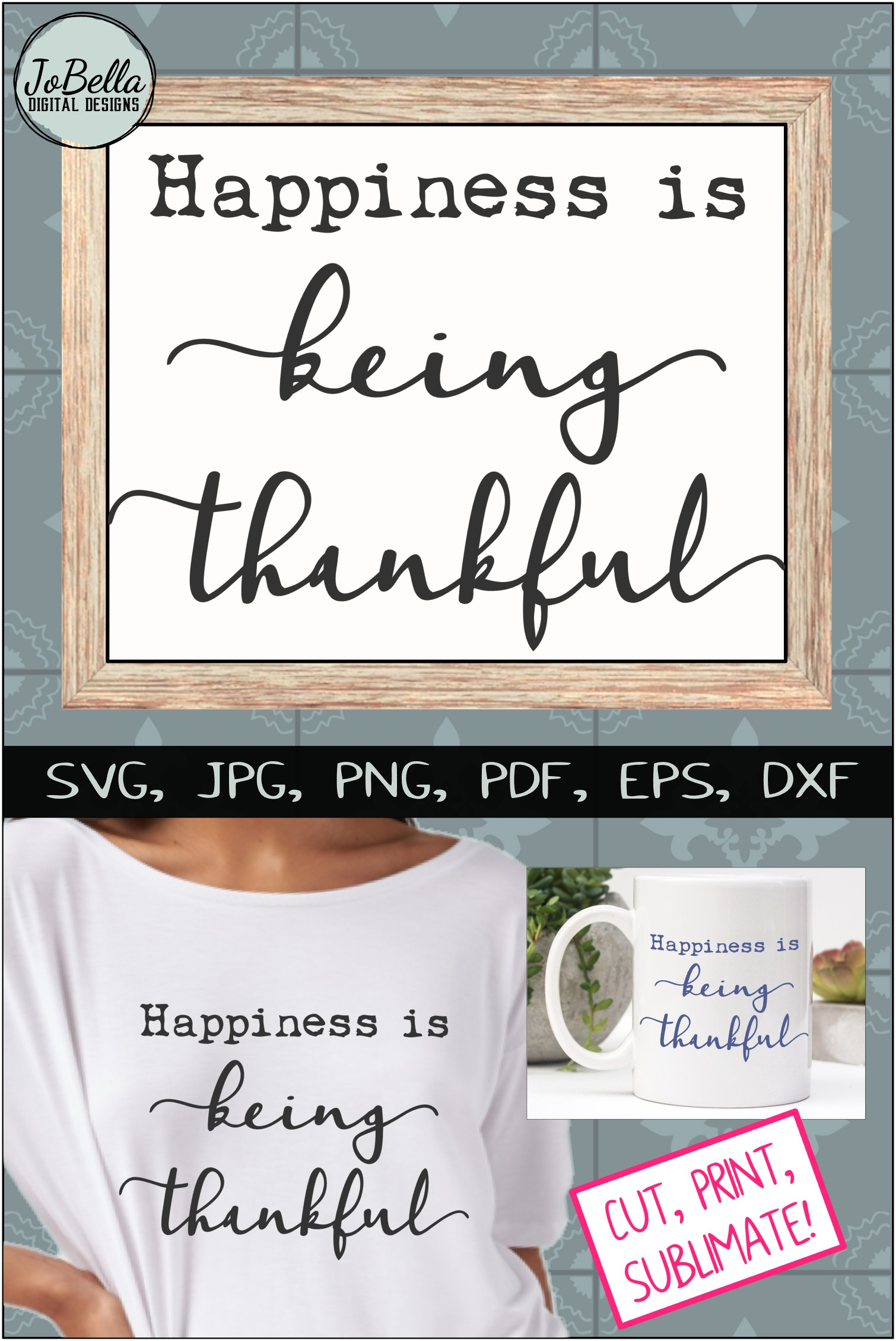 Being Thankful Thanksgiving SVG, Sublimation PNG & Printable example image 5
