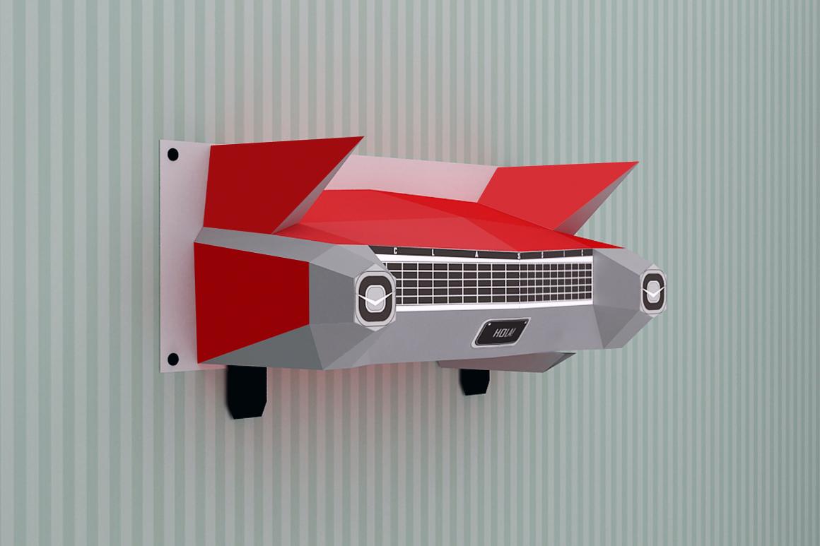 DIY Wall mount Car - 3d papercraft example image 2