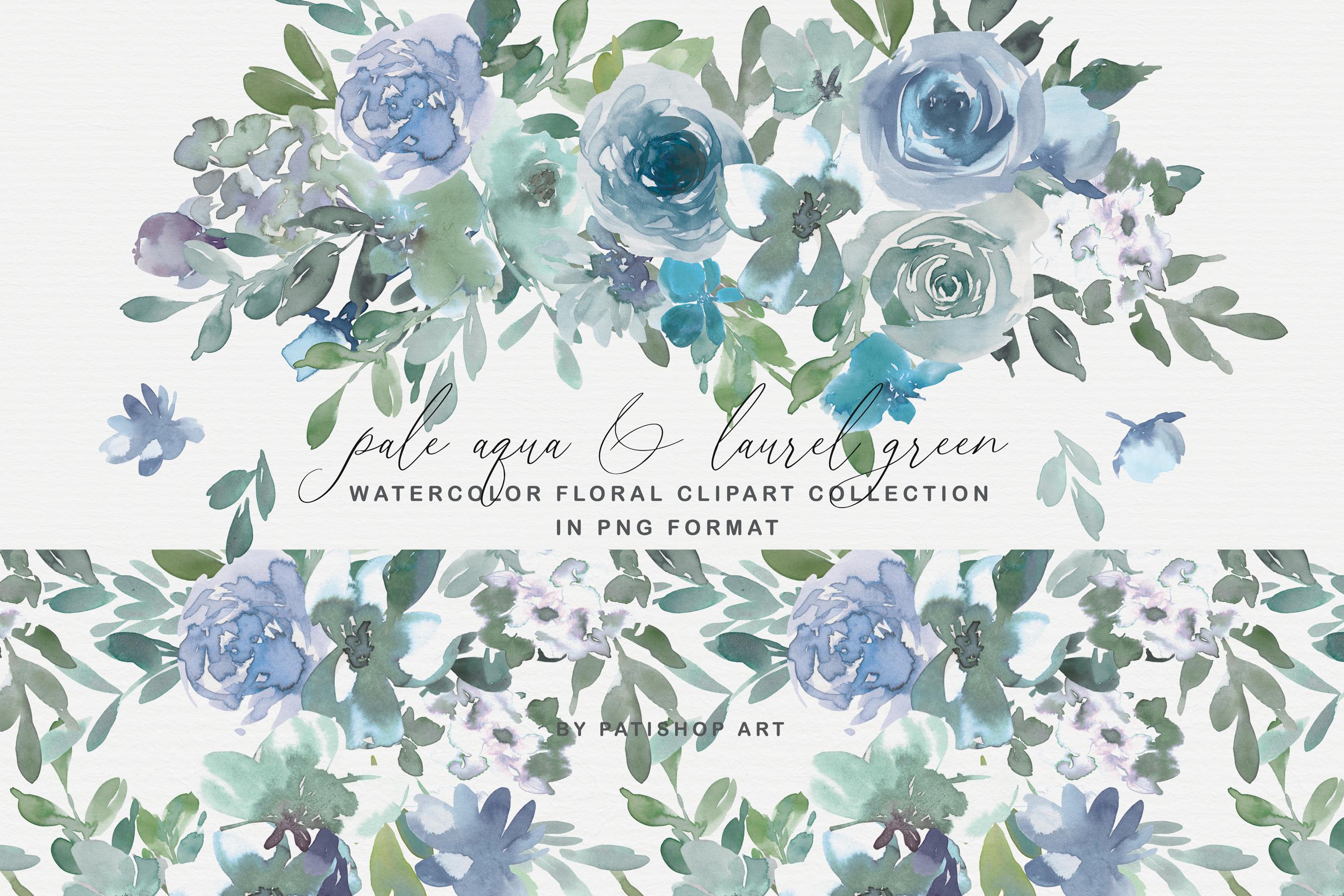 Pale Aqua & Laurel Green Watercolor Floral Clipart Set example image 1