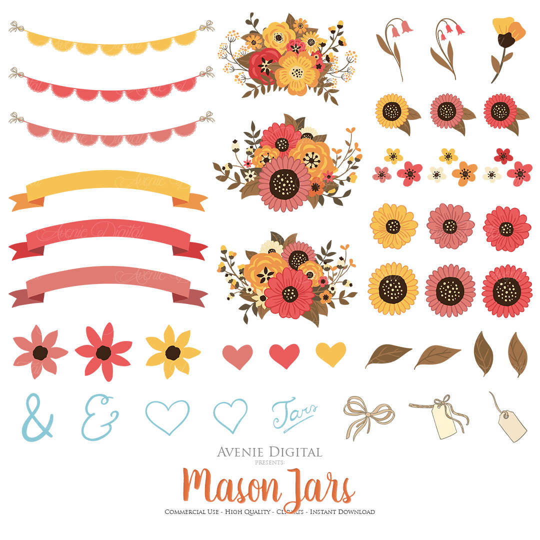 Fall Mason Jar Wedding Clipart - Autumn Wedding Graphics example image 2