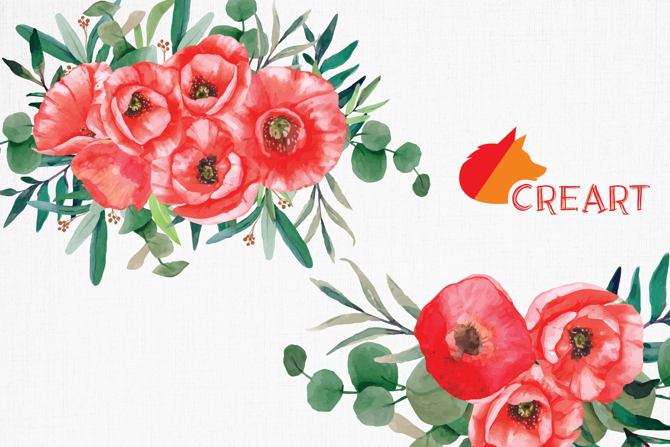Red poppies floral watercolor wedding bouquets, floral decor example image 8