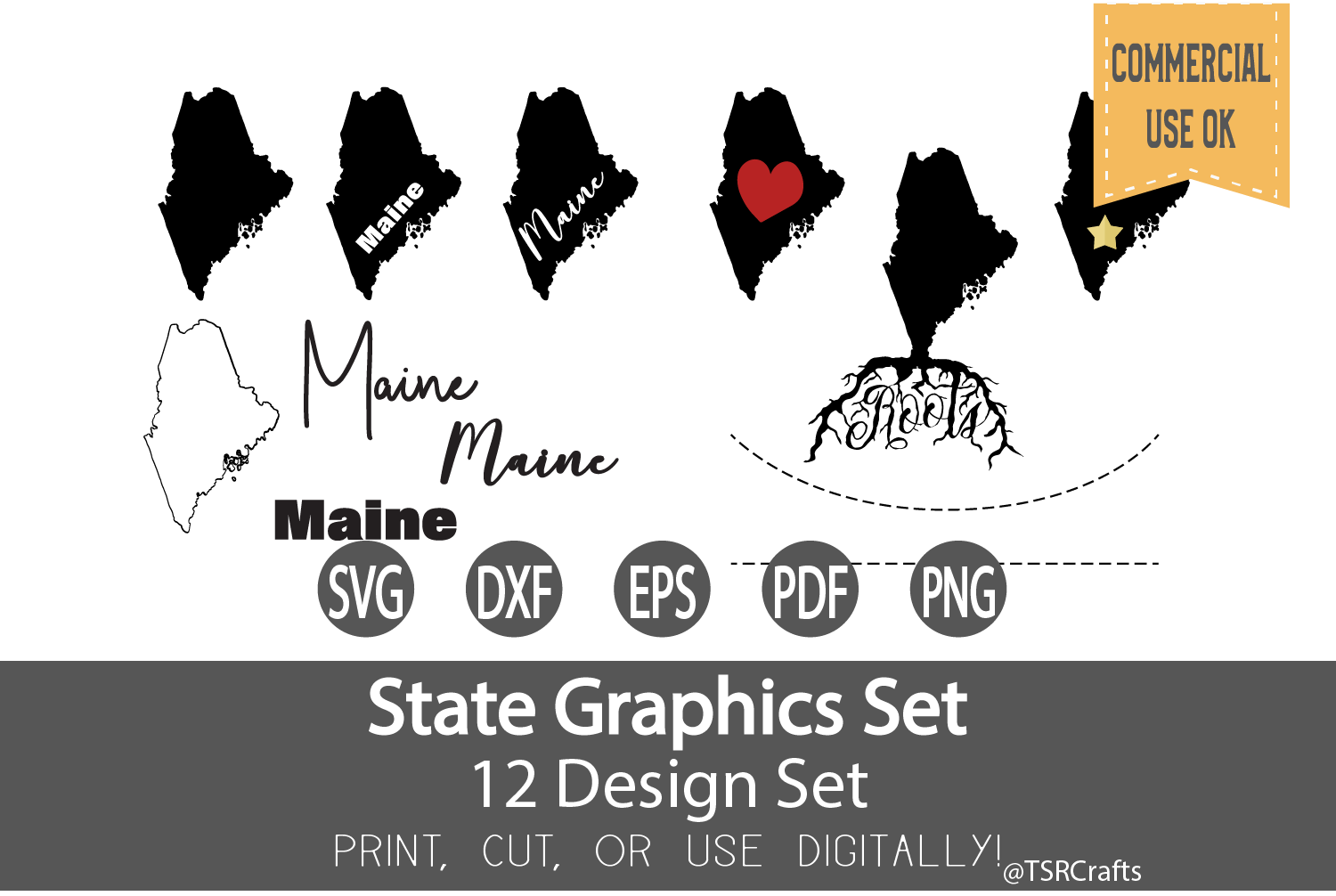 Maine State Graphics Set - Clip Art and Digital Cut fil example image 1