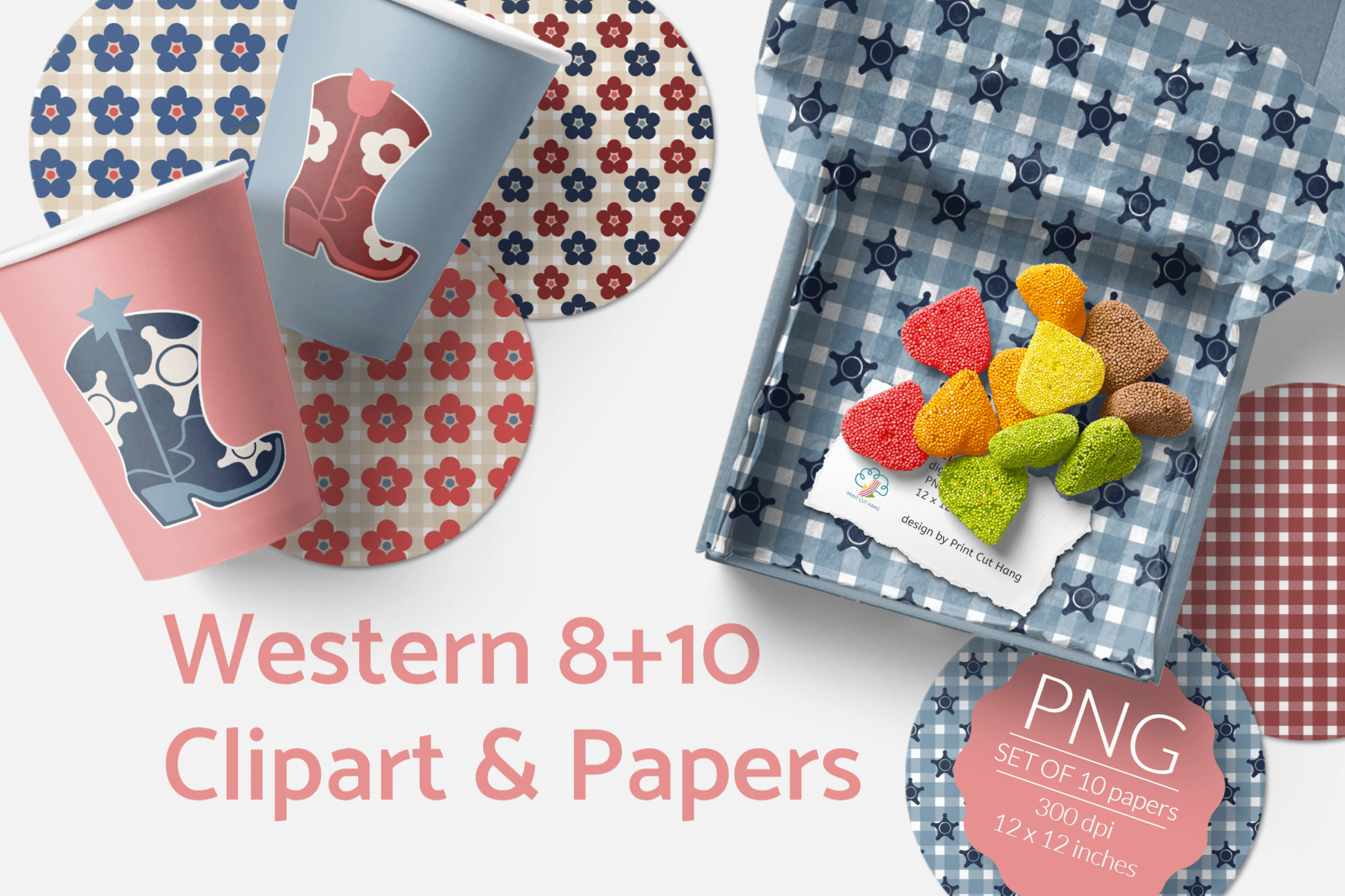 Western Clipart & Gingham Scrapbooking Papers PNG files example image 1