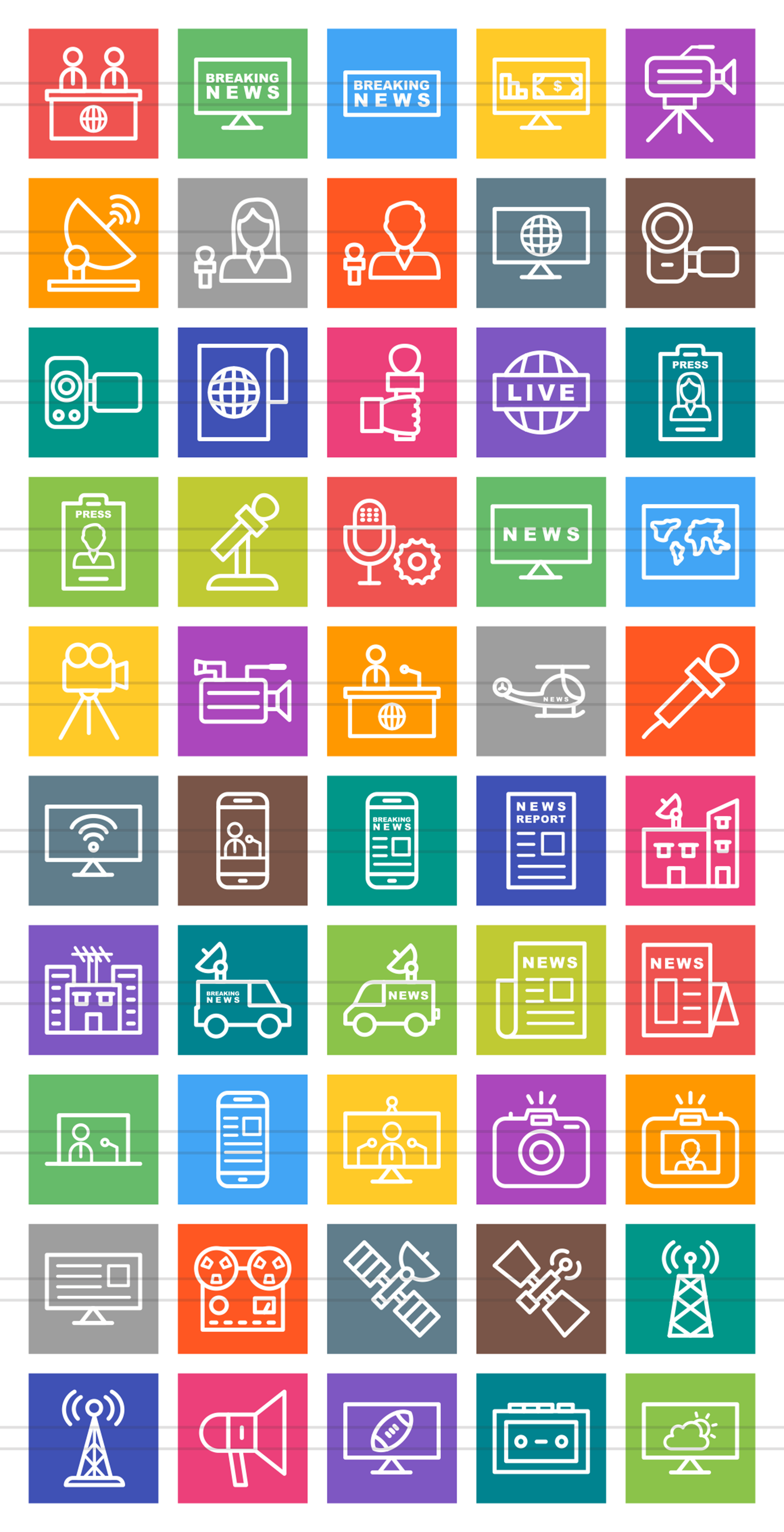 50 News & Media Line Multicolor B/G Icons example image 2
