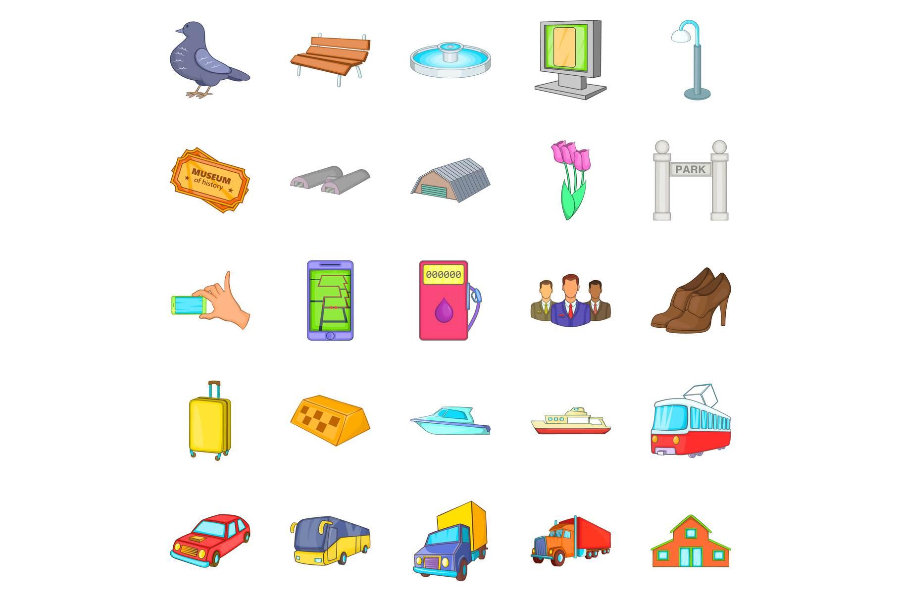 City transport icons set, cartoon style example image 1