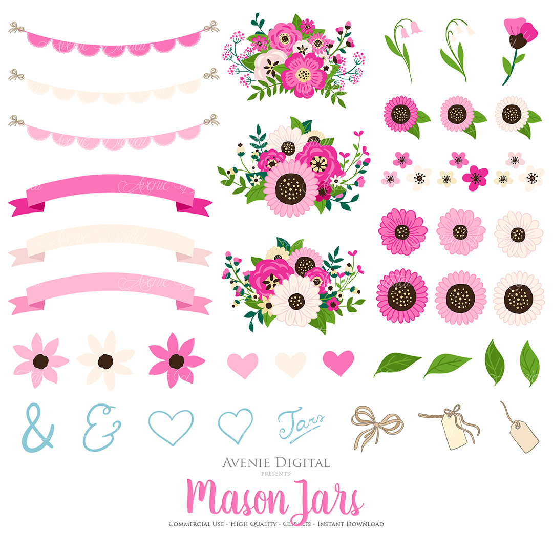 Hot Pink Mason Jar Floral Wedding Clipart example image 2
