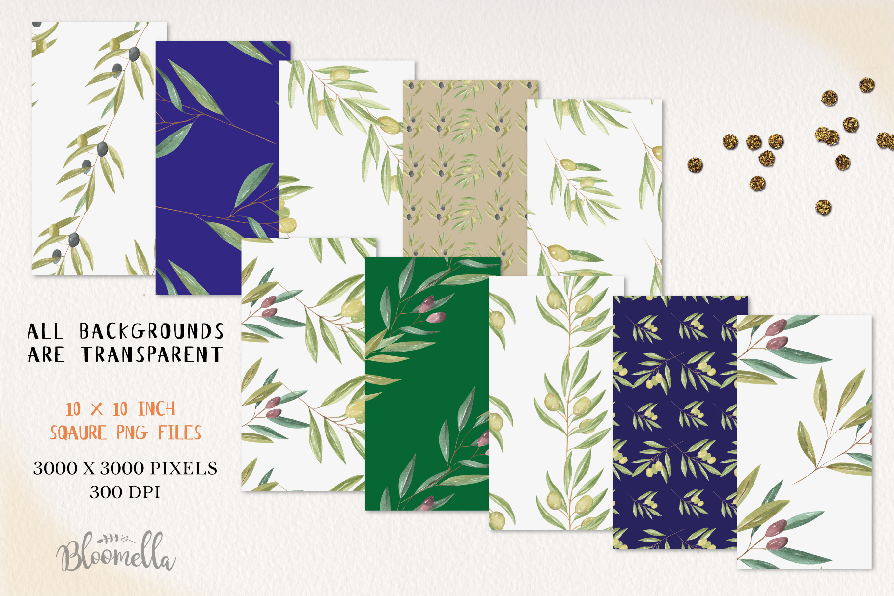 Olive Branches Seamless Patterns Digital Papers Greenery example image 3