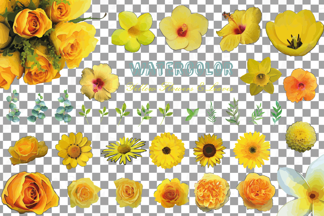 Watercolor yellow flowers and green leaves clip art pack example image 2