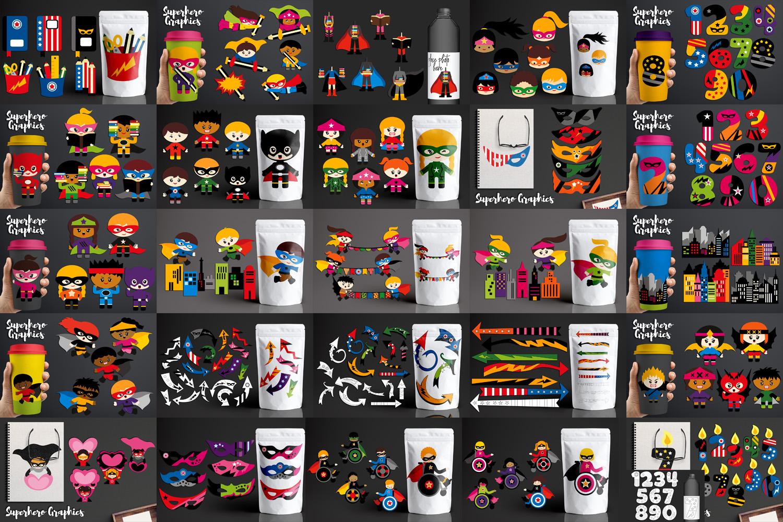 Illustrations Huge Bundle - Superhero Clip Art Graphics example image 2