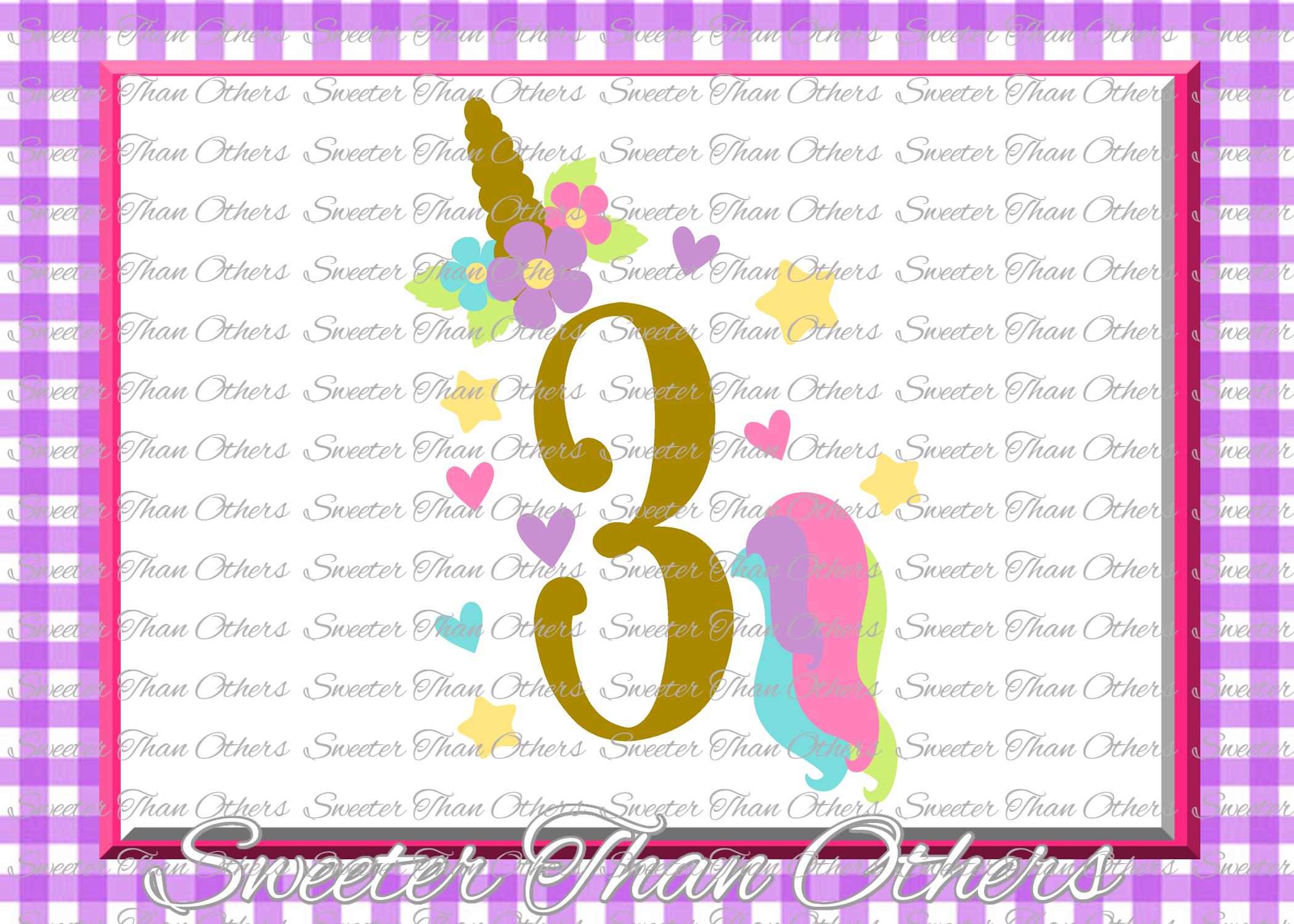 Three Birthday SVG, 3rd Birthday Unicorn svg example image 1