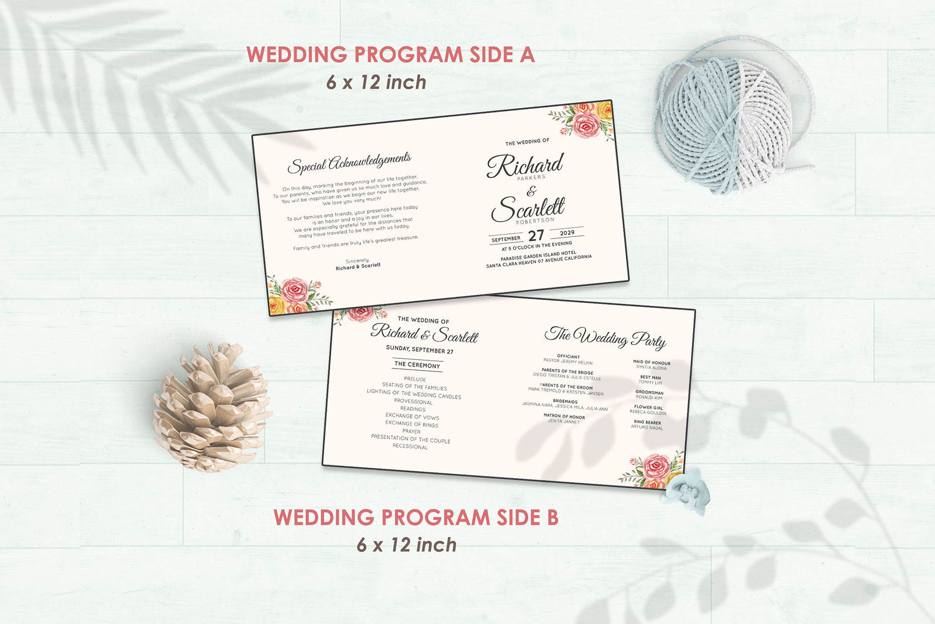 Wedding Invitation Set #3 Watercolor Floral Flower Style example image 5