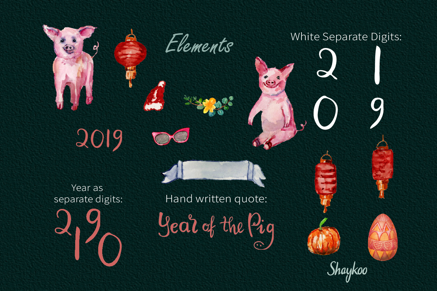 Year of the Pig Clipart, Chinese Year Watercolor Clipart example image 4