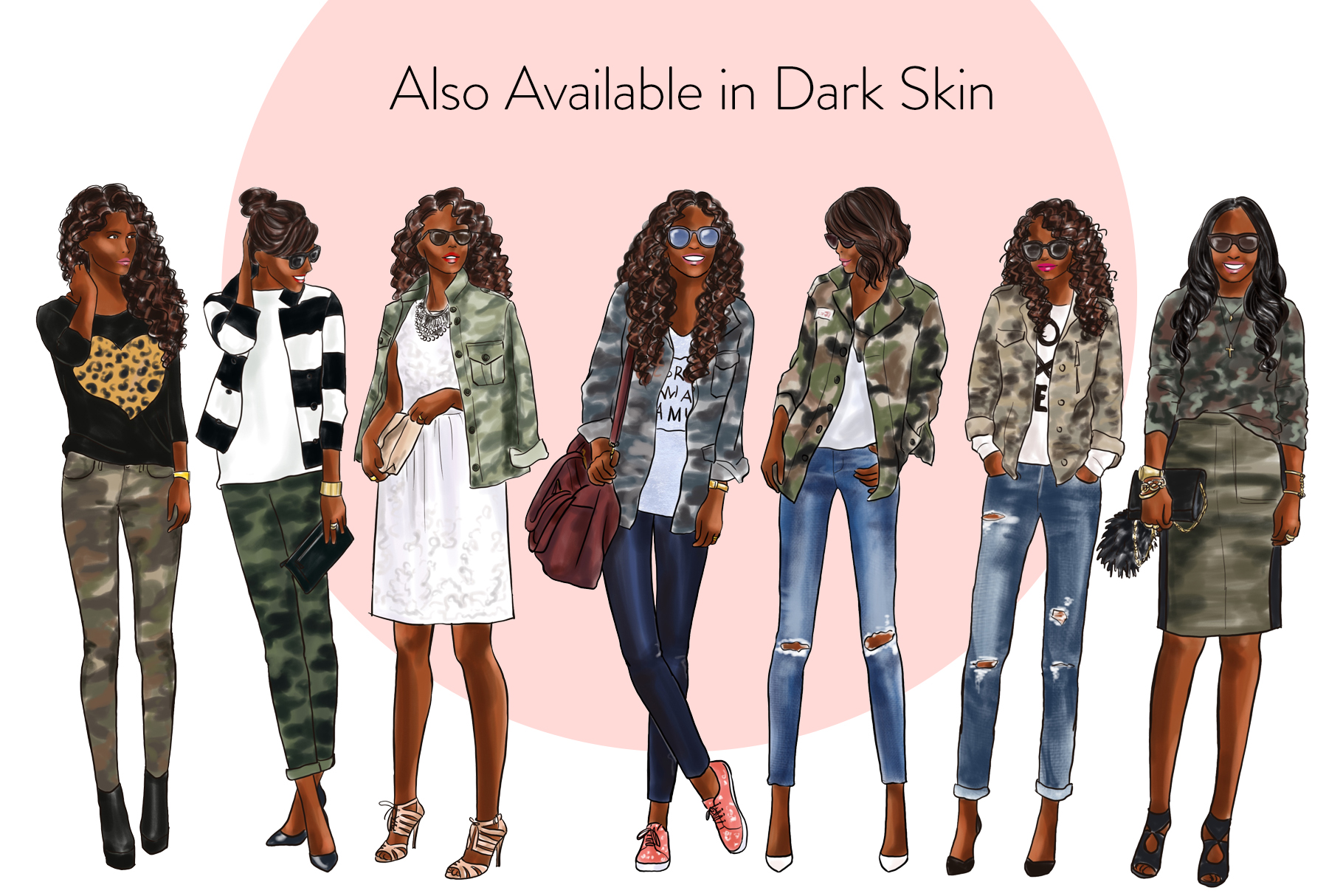 Fashion illustration clipart - Girls in Camo - Light Skin example image 4