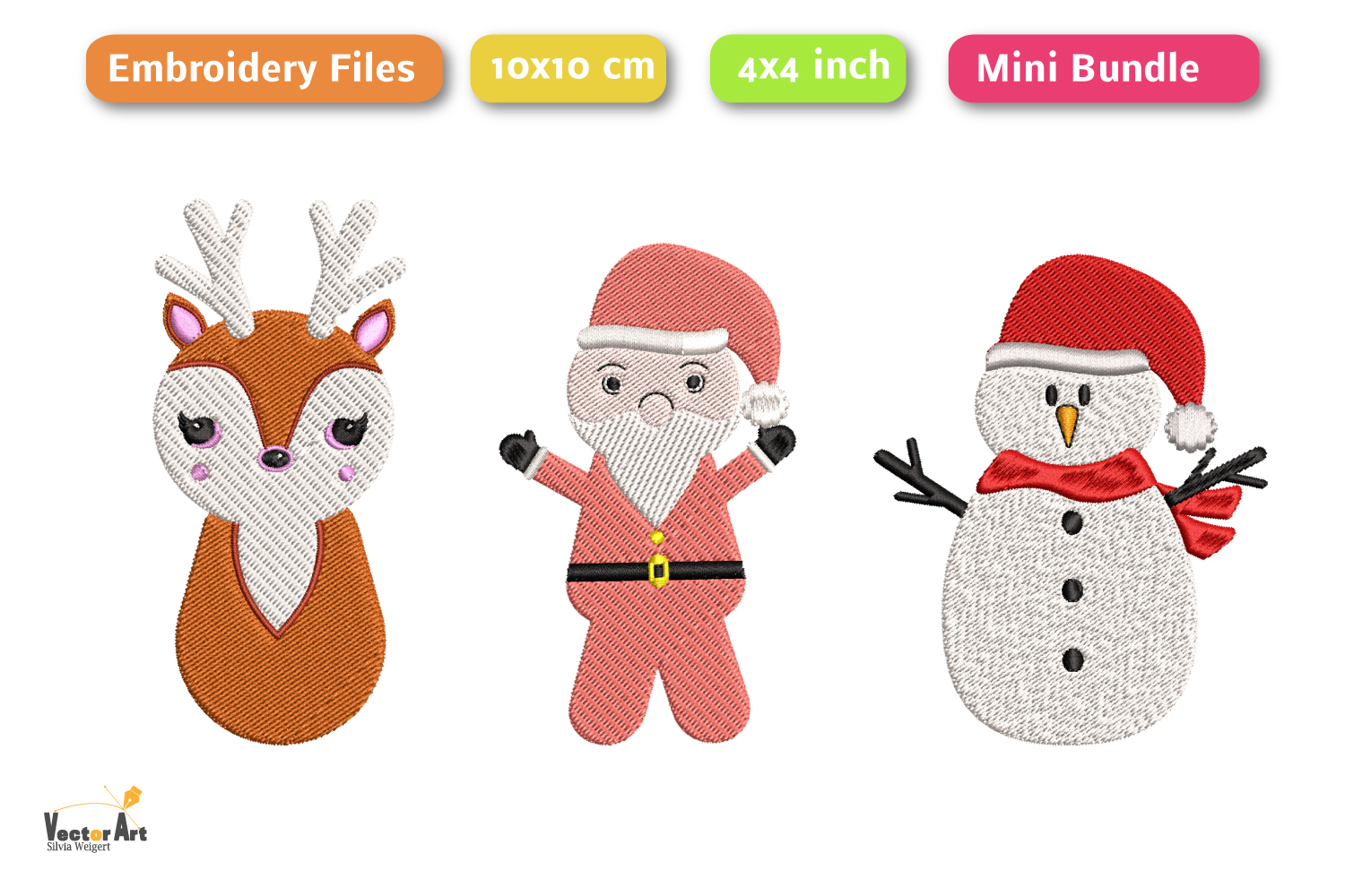 Christmas Mini Bundle - 3 Embroidery Files - 4x4 inch example image 2