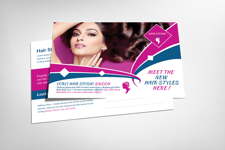 Hair Saloon Postcard Template example image 1
