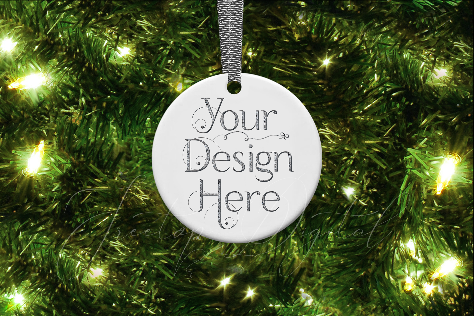 Round Christmas Ornament Mockup, Bauble Mock- Up, JPG example image 4