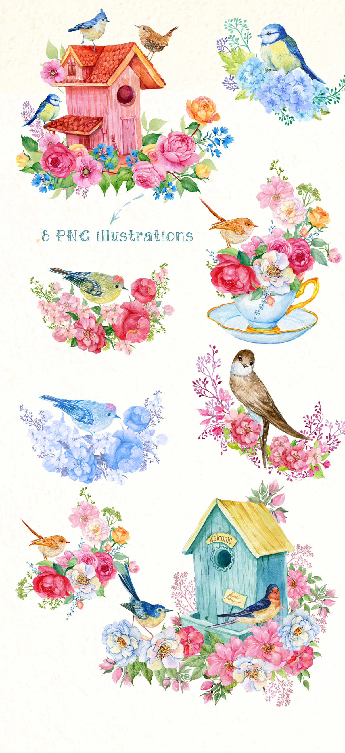 Hello spring watercolor illustration example image 2