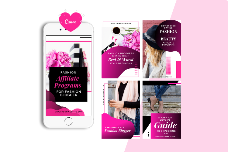 Fashion Blogger Pinterest Templates for Canva example image 5