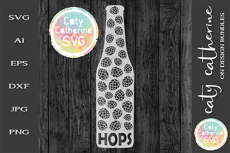 Craft Beer Hop Terms Beer Bottle SVG Cut File example image 1