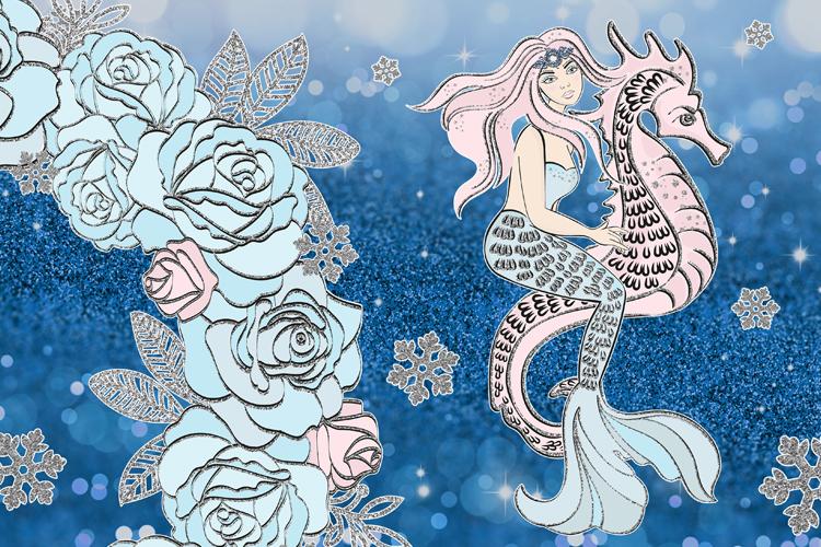 ICE MERMAID Glitter Christmas Illustration Set example image 7