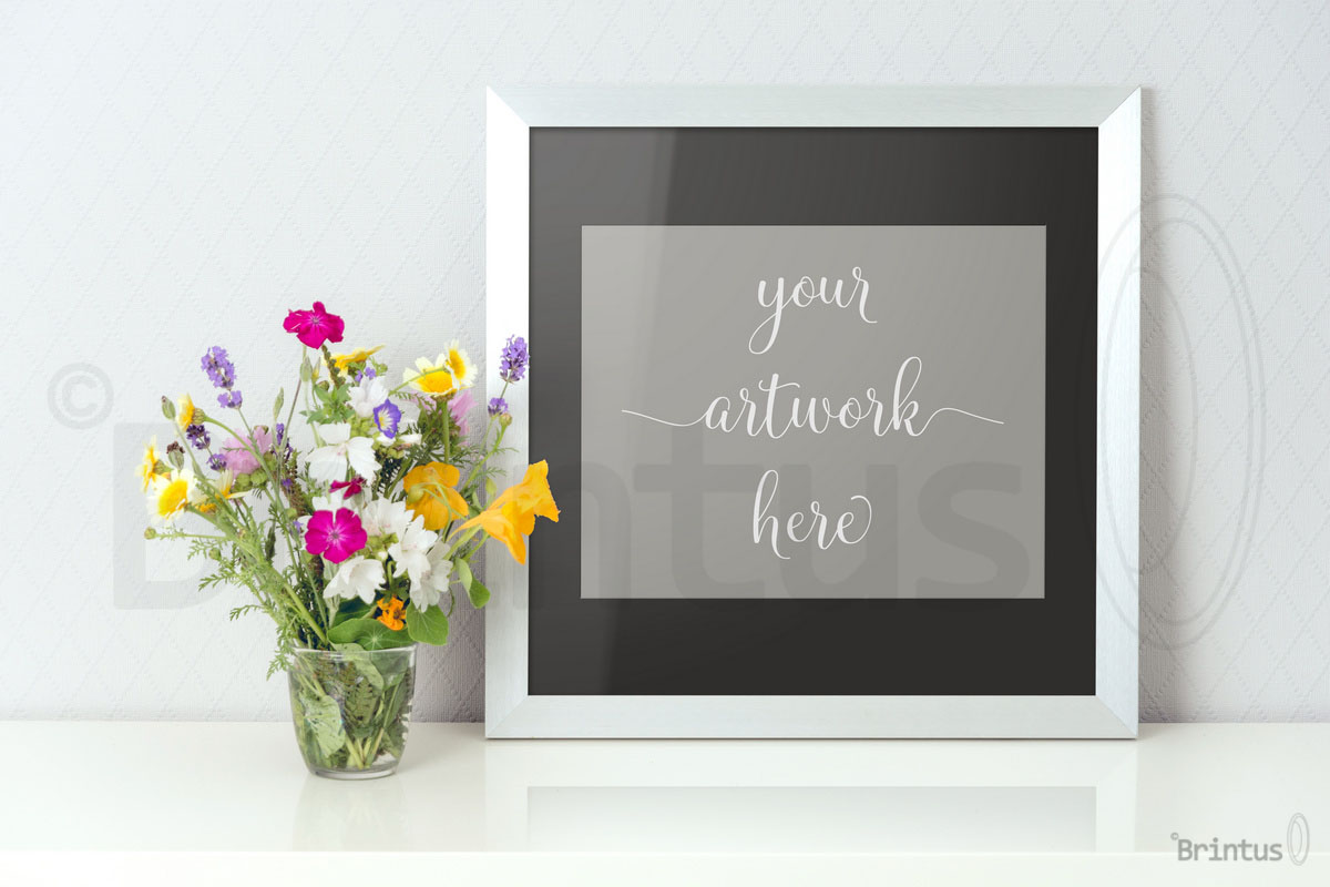 Frame mockup - clean bright interior summer field flowers example image 3
