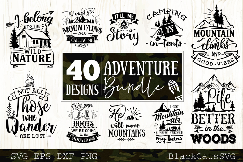 Adventure SVG bundle 40 designs Mountains SVG bundle example image 4