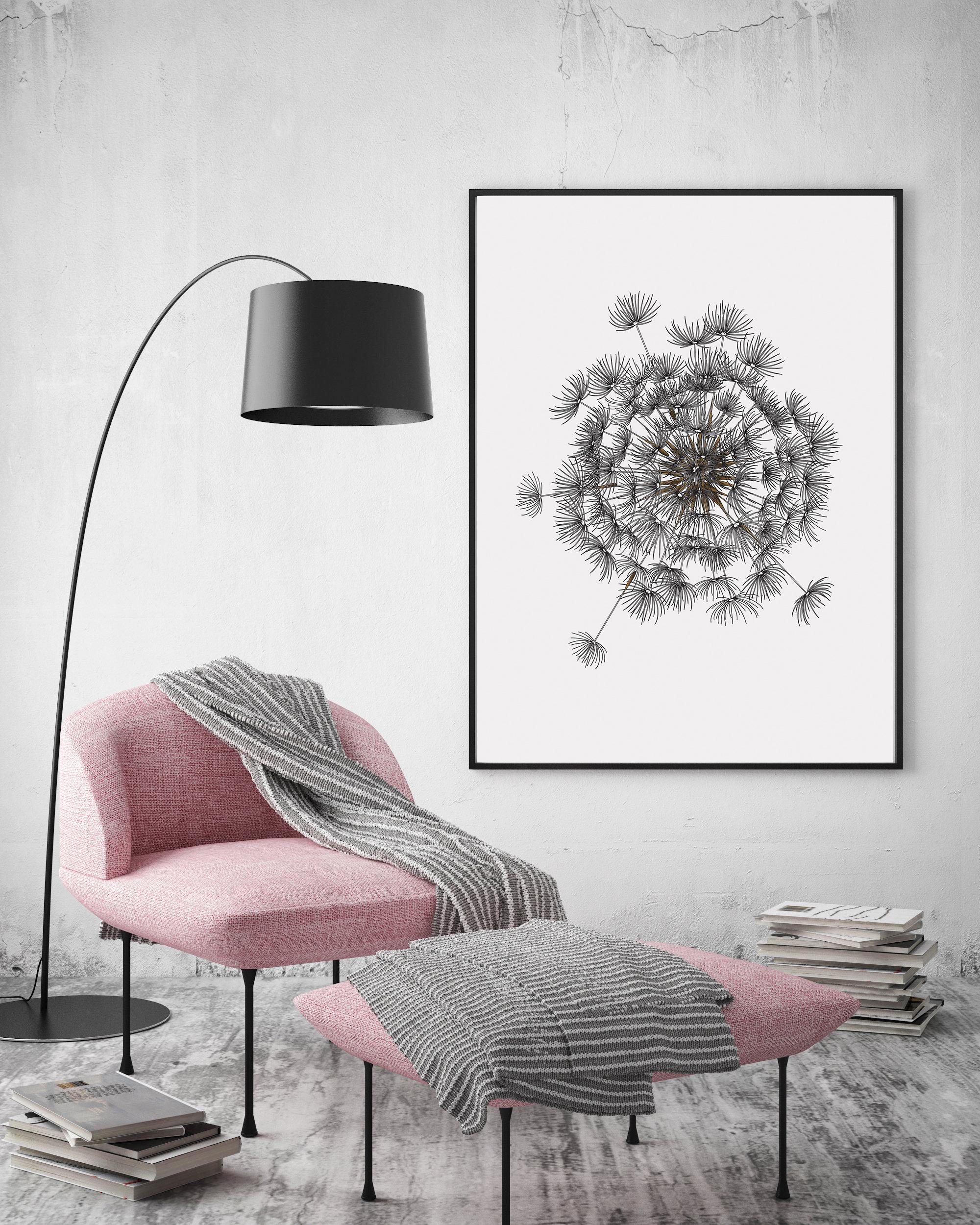 Dandelion Wall Art Large, Printable Digital Download example image 4