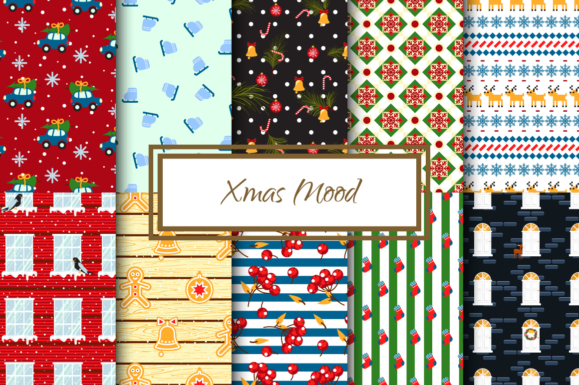 Xmas Mood Seamless Patterns example image 1