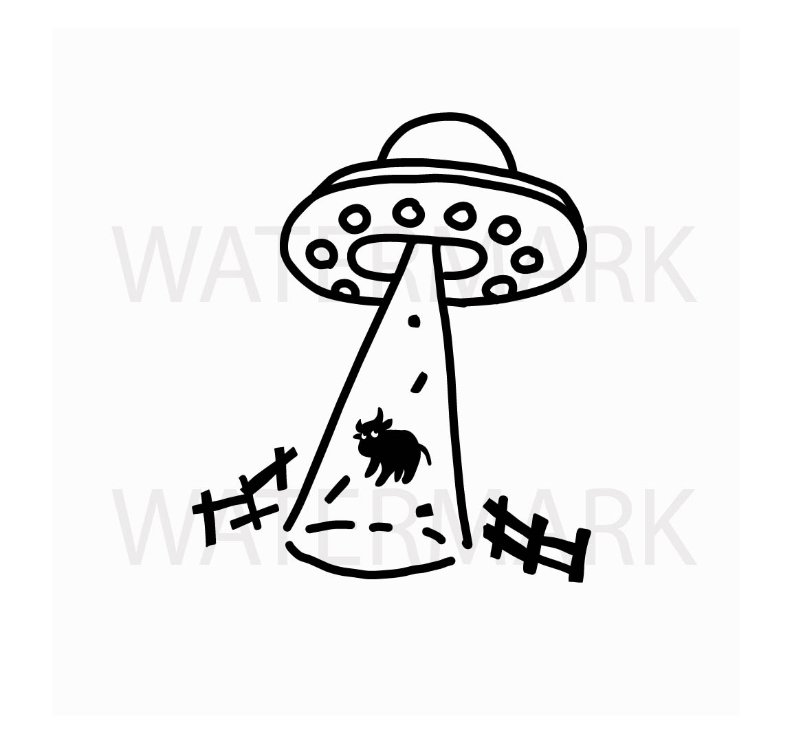 Alien Abduction an innocent cow - SVG/JPG/PNG Hand Drawing example image 1