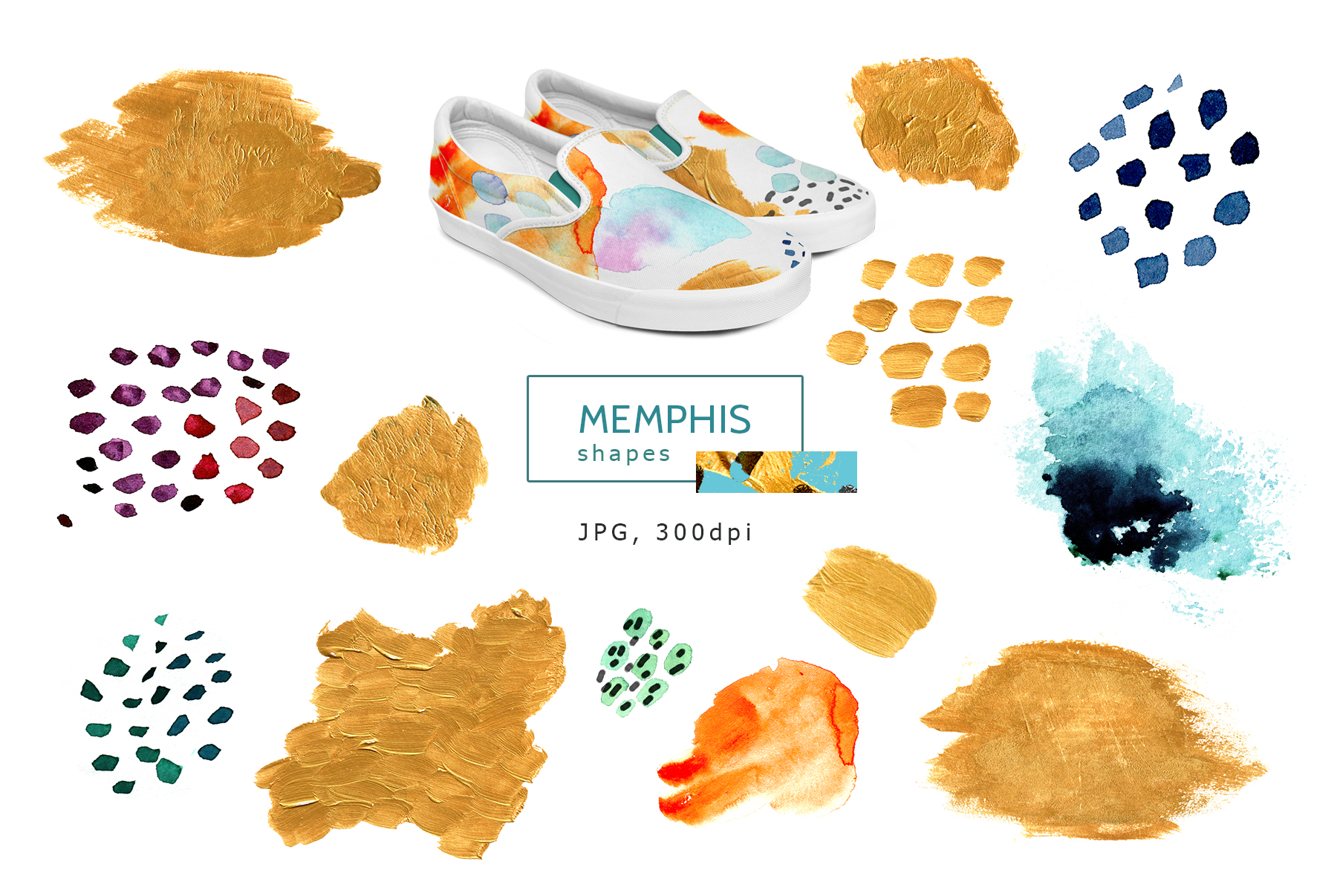 Watercolor memphis patterns & shapes example image 3