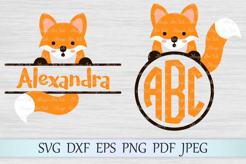 Fox svg, Animal svg file, Fox monogram svg, Monogram frames example image 1