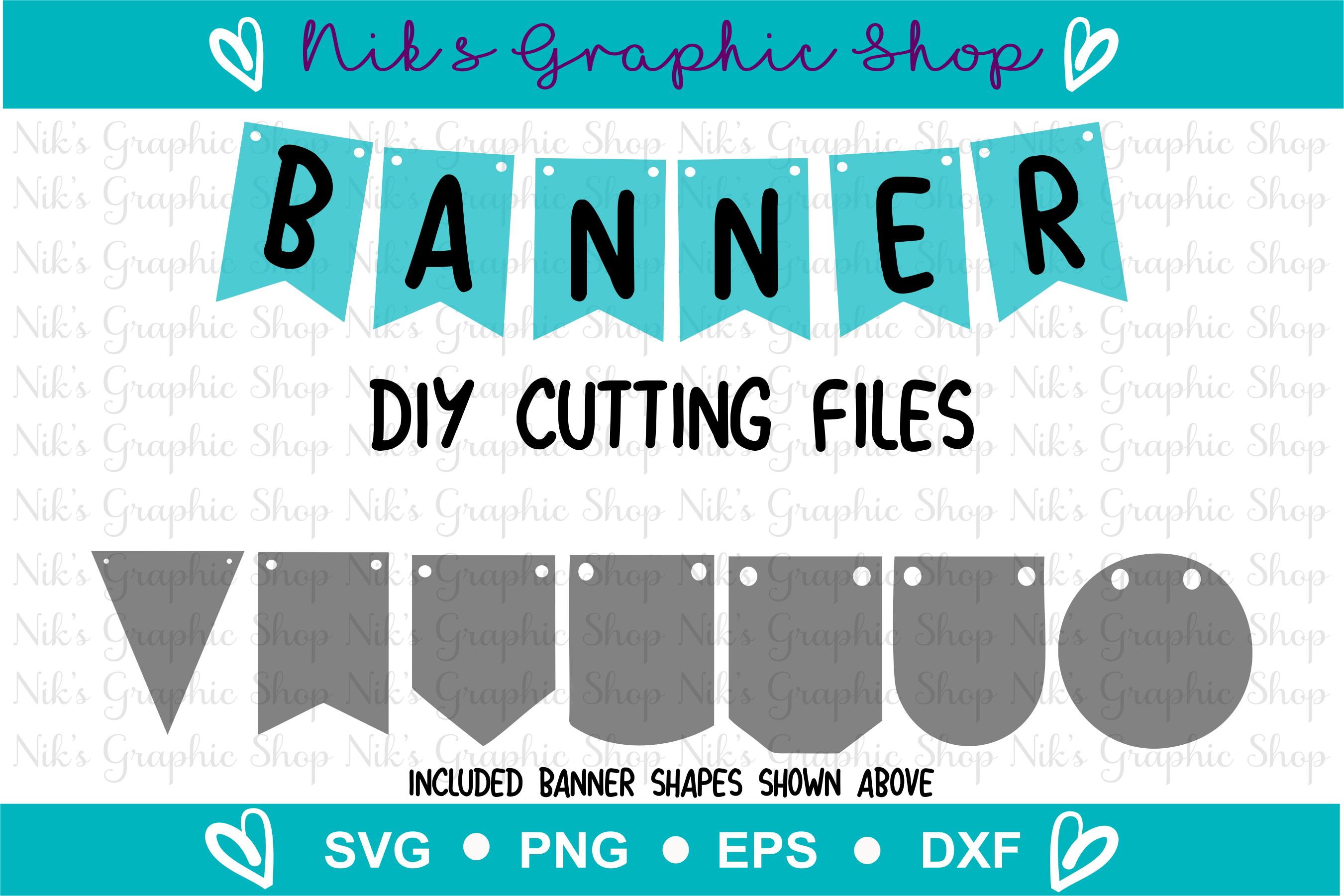Banner Svg, Bunting Banner Svg, Banner Cut Files, Flag Svg example image 1