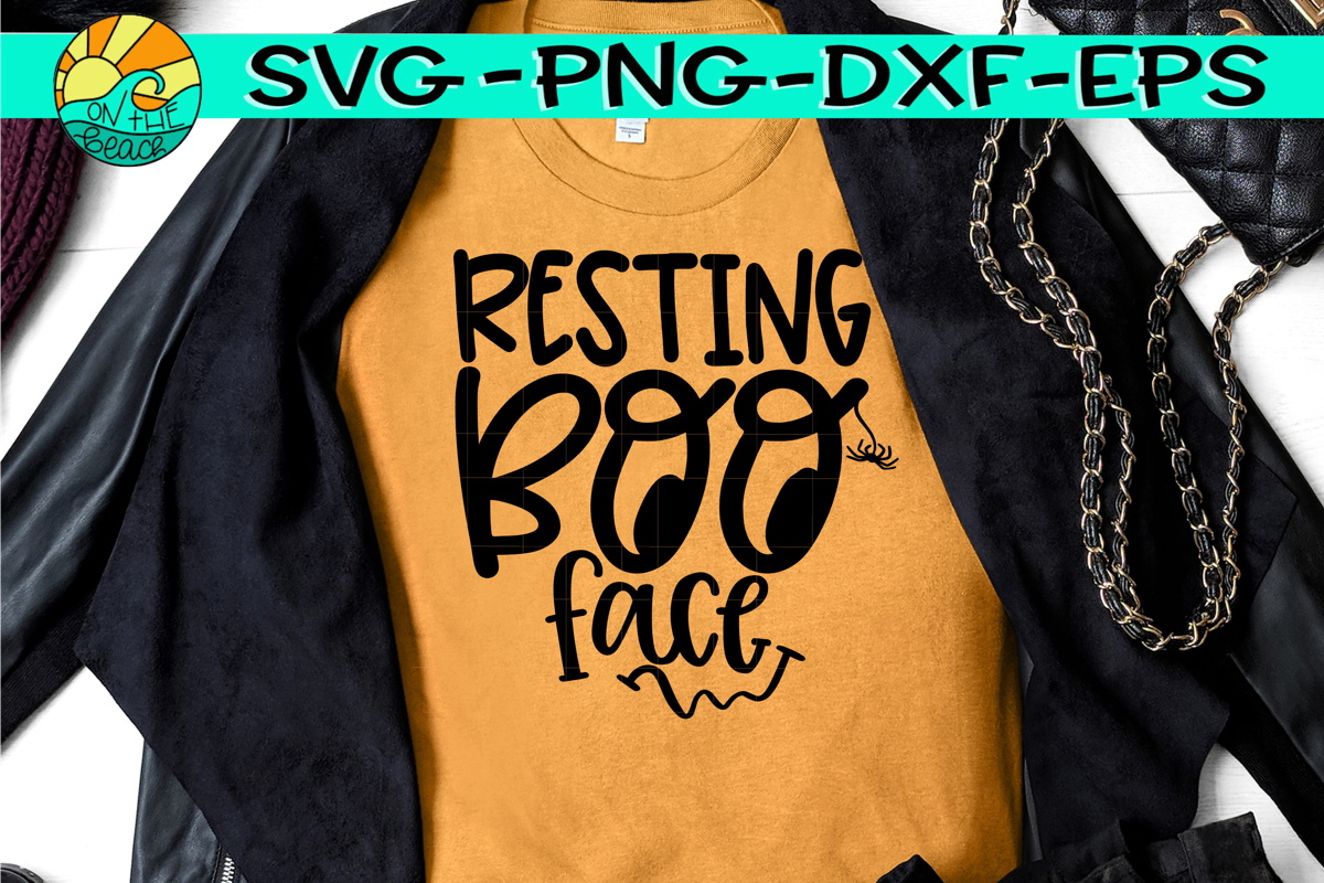 Resting BOO Face - Halloween - SVG PNG EPS DXF example image 1
