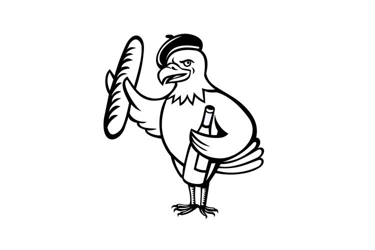 American Eagle Beret Baguette Wine Cartoon example image 1