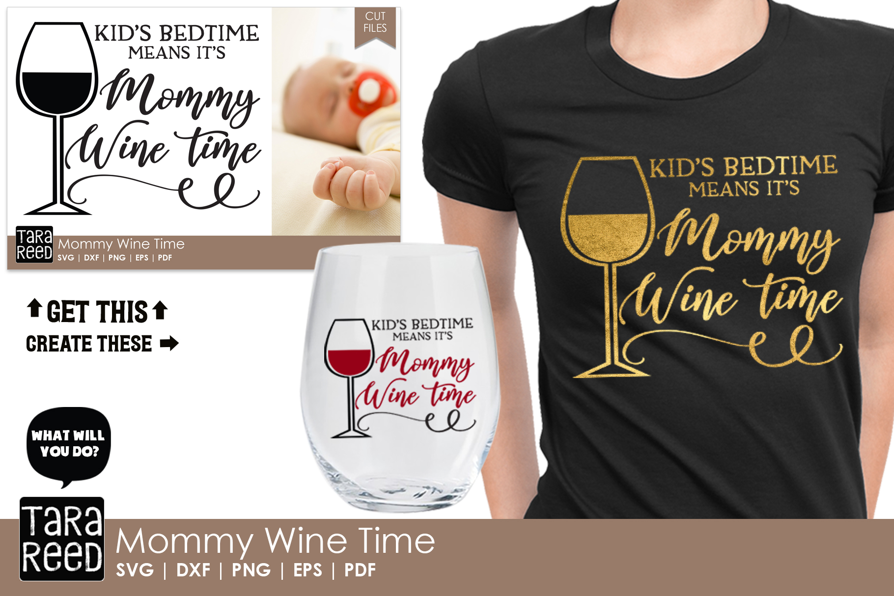 Mommy Wine Time - Wine SVG and Cut Files for Crafters example image 2